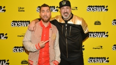 Matthew Charles Ducey, Lance Bass, Aaron Kunkel, Joey Fatone, Nicholas Caprio, and Dave Holmes attend the 'The Boy Band Con: The Lou Pearlman Story' Premiere