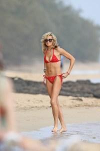 Stephanie Pratt red bikini on the beach