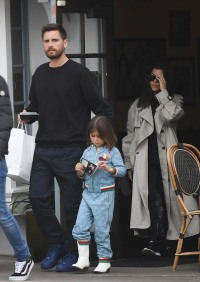 Kourtney Kardashian has lunch with Scott Disick and Sofia Richie while on vacation together in Santa Barbara