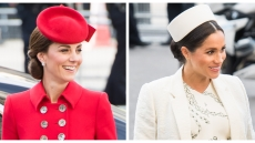 A split image of Kate Middleton and Meghan Markle at the Commonwealth Day Service.