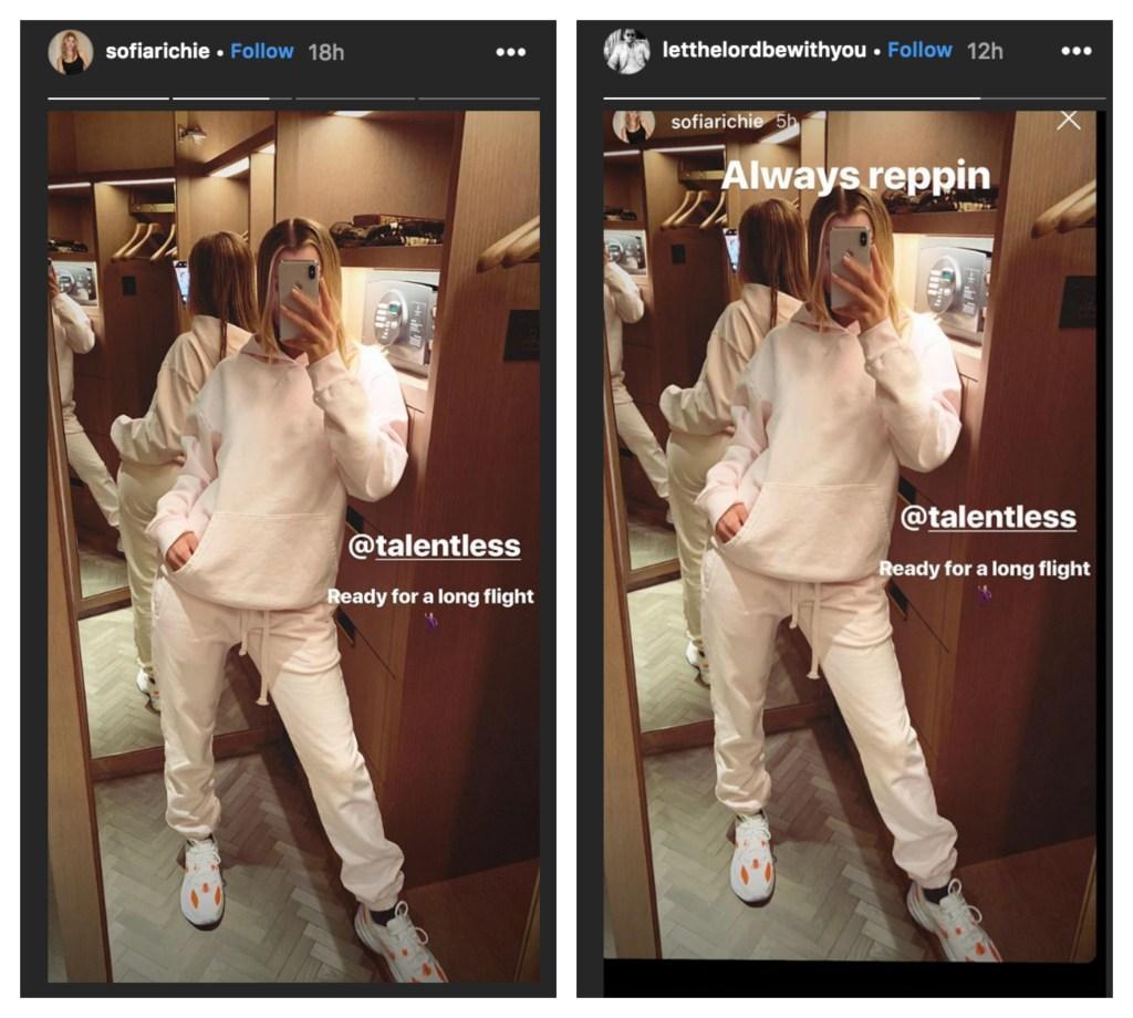 Sofia Richie taking a mirror selfie on an airplane.