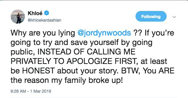 Khloe Kardashian Jordyn woods response