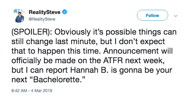 Reality Steve says Hannah Brown will be next bachelorette