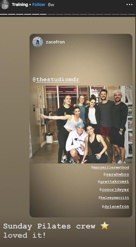 Sarah Bro Instagram Story Zac Efron at pilates