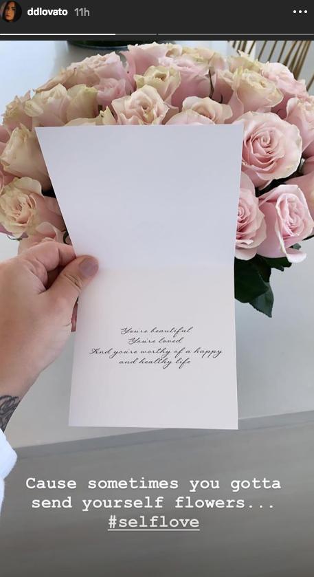 Demi Lovato sent herself flowers on instagram note
