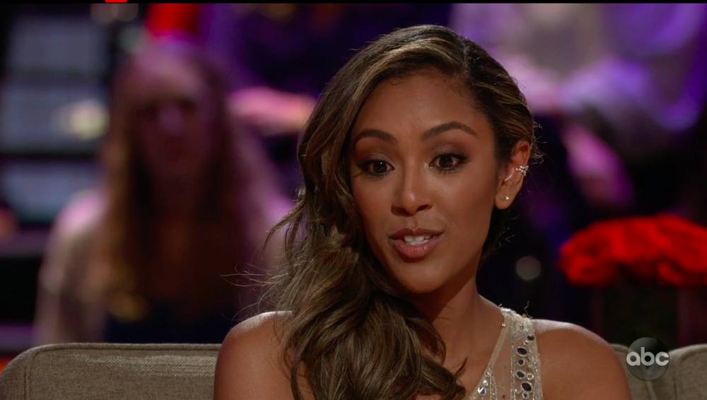 tayshia on stage on the bachelor