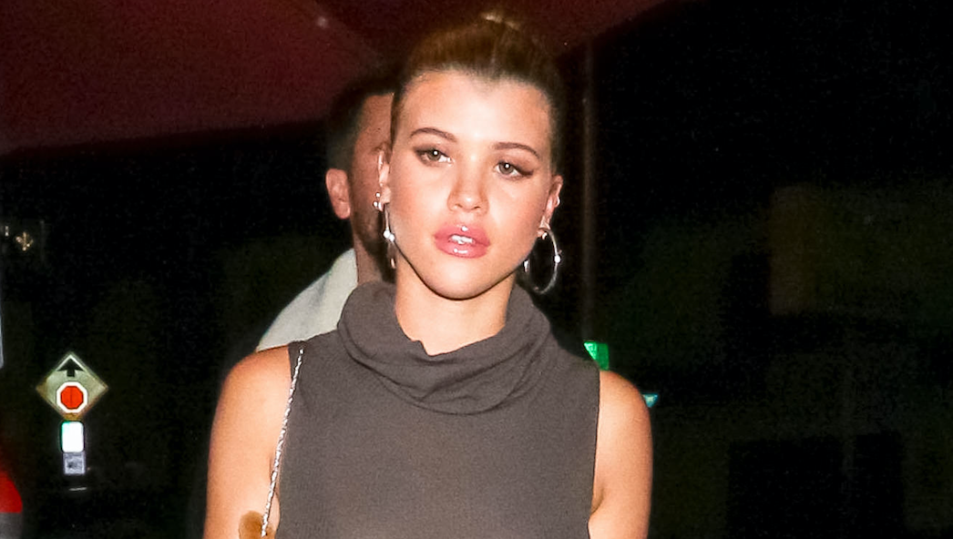 Sofia Richie wearing a tight, brown dress while walking in L.A.
