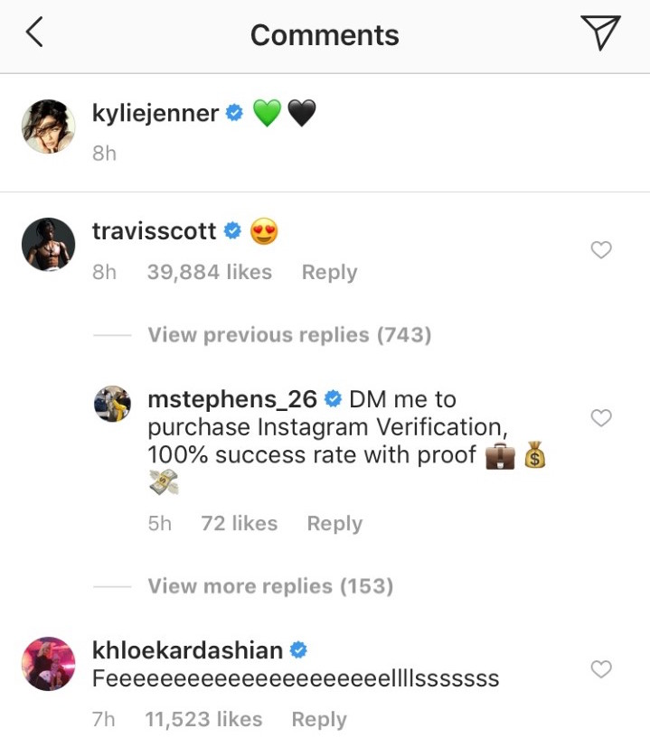Travis Scott comments on Kylie's pic