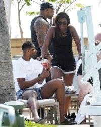 Tristan Thompson Parties Poolside Miami