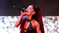 Ariana Grande singing at the 2018 iHeartRadio Music Awards.