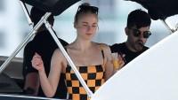 sophie turner rocks checkered swimsuit