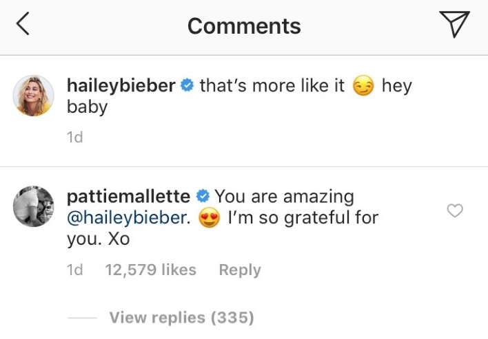 Justin Bieber's mom Pattie Mallette comments on Hailey Baldwin's photo