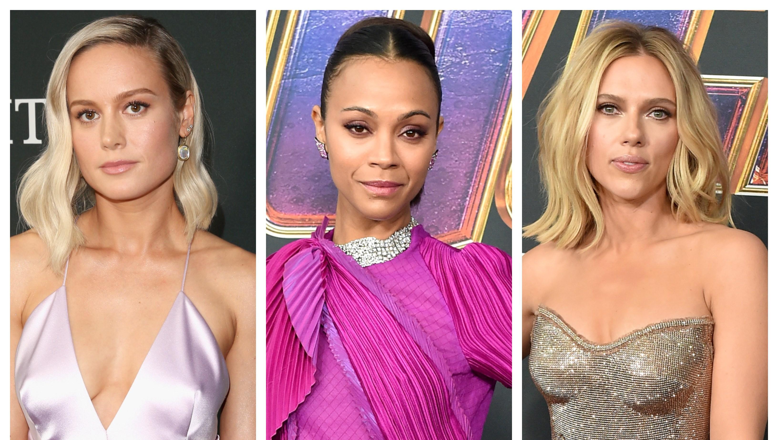 A split image of Brie Larson, Zoe Saldana and Scarlett Johansson