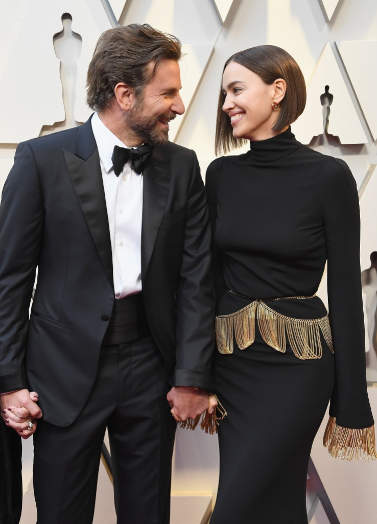 Bradley Cooper Wearing a Suit with Irina Shayk at Oscars
