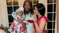 Cardi B, Offset and their daughter, Kulture, posing one Easter
