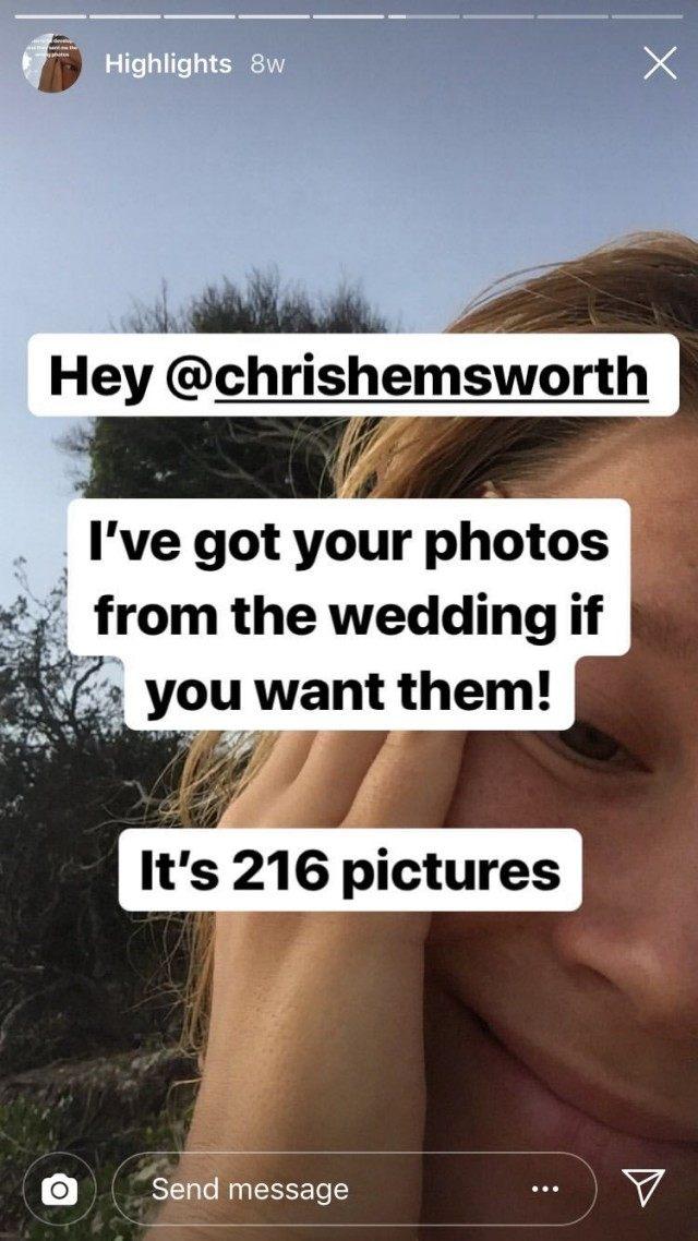 Chris Hemsworth, Leaked Wedding Photos, Instagram Story