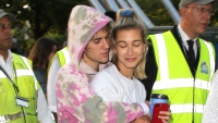 Justin Bieber tiedye hoodie Hailey Baldwin scrunchie grey sweats