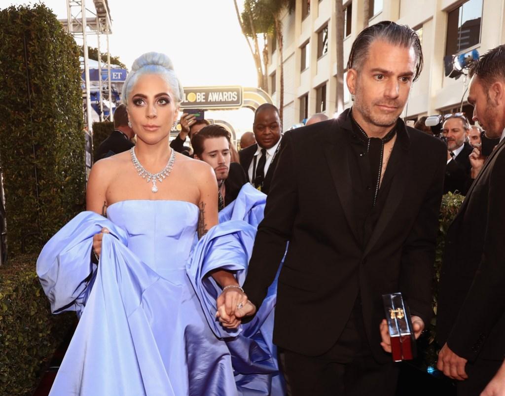 Lady Gaga golden globes blue dress Christian Carino relationship split