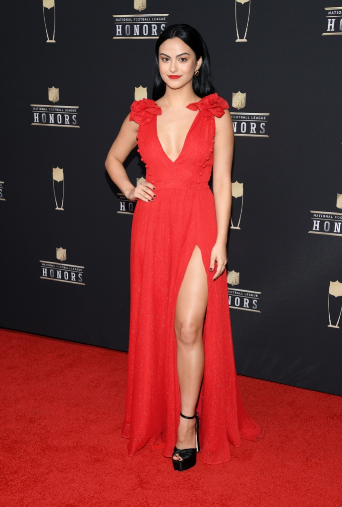 Camila Mendes red dress red lip