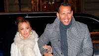 Jennifer Lopez Wearing a Coat with Alex Rodriguez