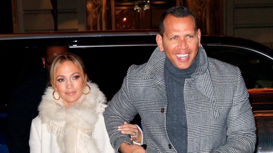 Jennifer Lopez Wearing a Coat with Alex Rodriguez