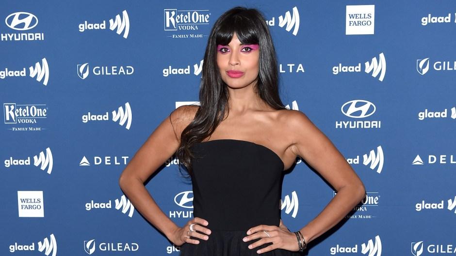 Jameela Jamil black dress pink eyeshadow cellulite photo body positivity