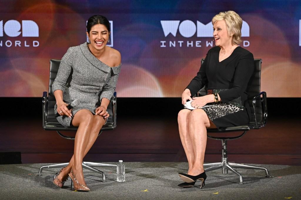 Priyanka Chopra grey suit women in the world summit