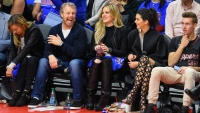 Gunnar Peterson in Jeans and a T-shirt with Khloe Kardashian and Kendall Jenner at a Basketball Game