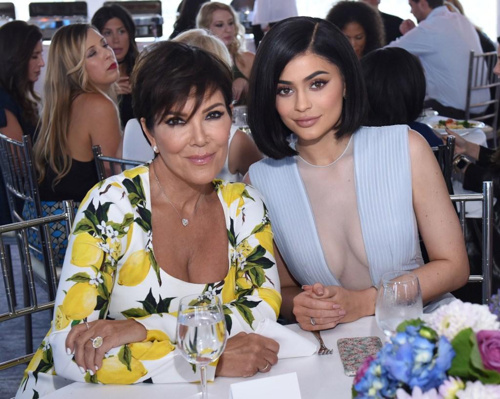 Kylie Jenner sheer blue dress Kris Jenner lemon sweater