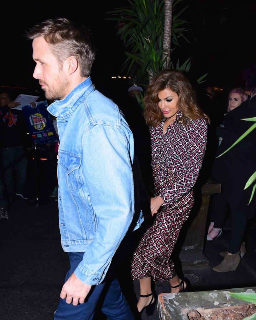 Ryan Gosling denim jacket Eva Mendes patterned dress