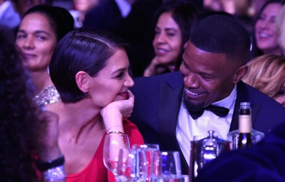 Katie Holmes red dress Jamie Foxx bowtie and tux relationship