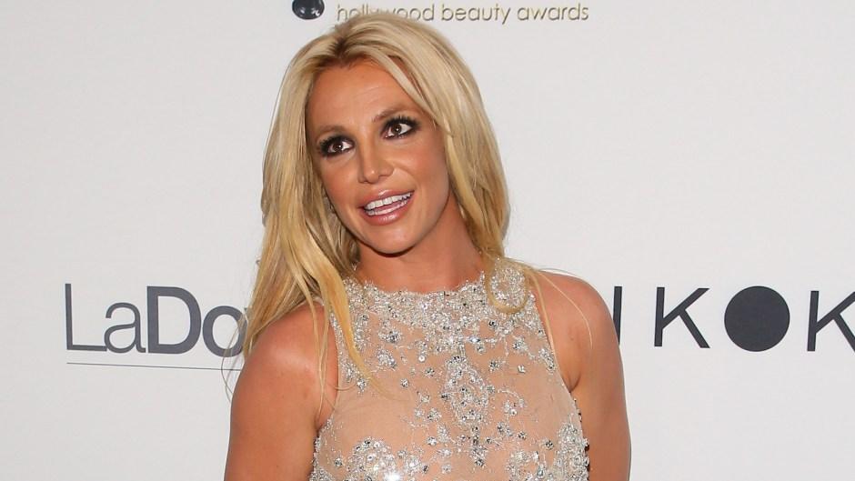 Britney Spears sheer diamond dress red carpet