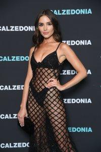 Olivia Culpo wears black mesh dress