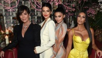 Kris Jenner Kendall Jenner Kylie Jenner Kim Kardashian yellow dress
