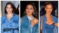 A split image of Ashley Graham, Olivia Culpo and Bella Hadid all wearing denim to Gigi Hadid's birthday party in NYC.