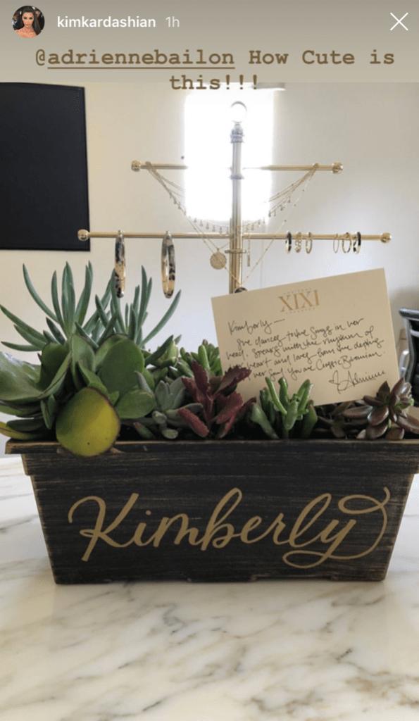 Kim Kardashian instagram story gift from adrienne bailon