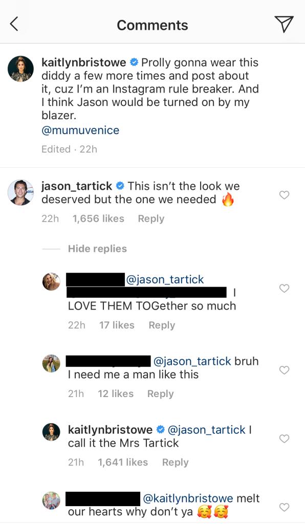 kaitlyn bristowe jason tartick comments on instagram