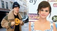 Justin Beiber Drew shirt Selena Gomez hair up blue dress