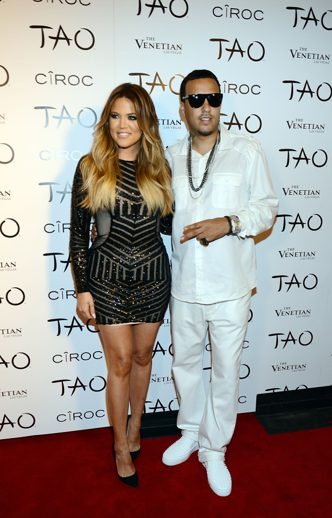Khloe Kardashian Wearing a Black Dress with French Montana