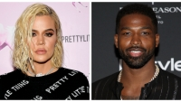 A split image of Khloe Kardashian and Tristan Thompson