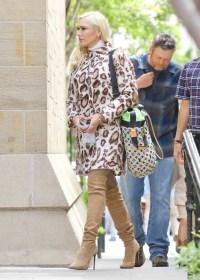 Gwen Stefani Blake Shelton easter cheetah coat brown boots