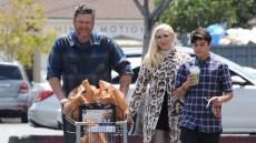 Gwen Stefani Blake Shelton kids easter grocery shopping cheetah print sweater