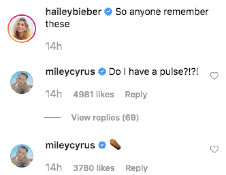 Miley Cyrus Instagram Comment