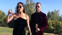 Nikki Bella black dress red lips champagne Artem Chigvintsev red velvet suit wedding