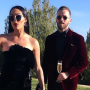 Nikki Bella black dress red lips champagne Artem Chigvintsev red velvet suit wedding