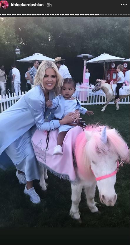 Khloe Kardashian light blue dress true thompson birthday pony rides