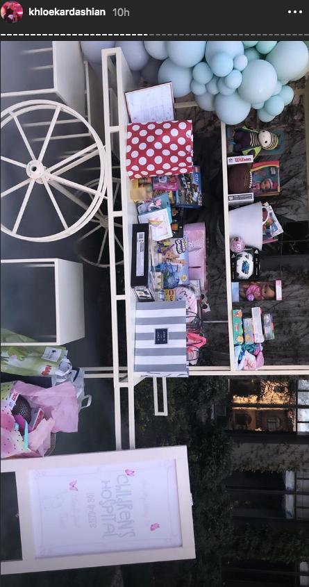 True Thompson birthday party hospital donation gifts