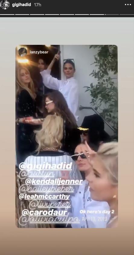 Gigi Hadid instagram story kendall jenner hailey baldwin coachella