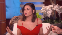 Jenna Dewan red dress on Ellen steve kazee