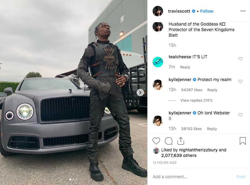 Kylie Jenner Comments on Travis Scott Instagram